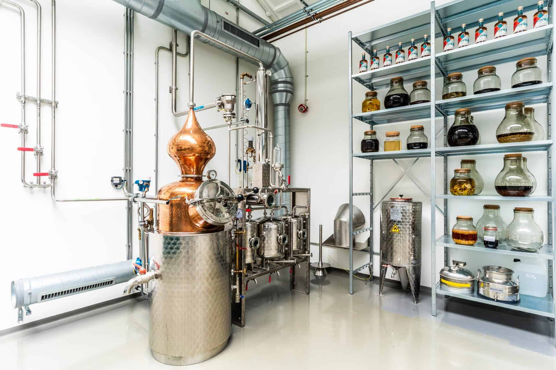 Inside the spirited union distillery with distilling kettle and botanical infusions