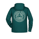 Green Spirited Union hoodie with logo on back