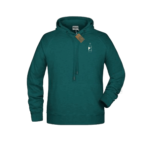 Green Spirited Union hoodie with small bottle on front
