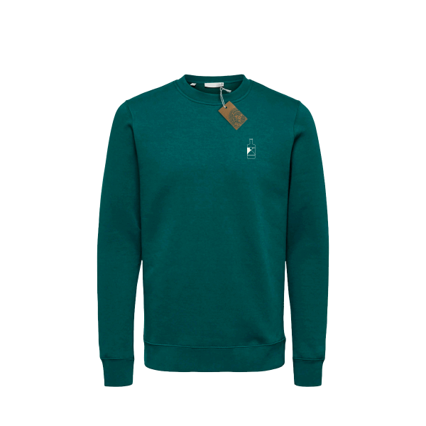 Green Spirited Union sweater with small bottle on front