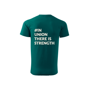 Green Spirited Union t-shirt with text on back