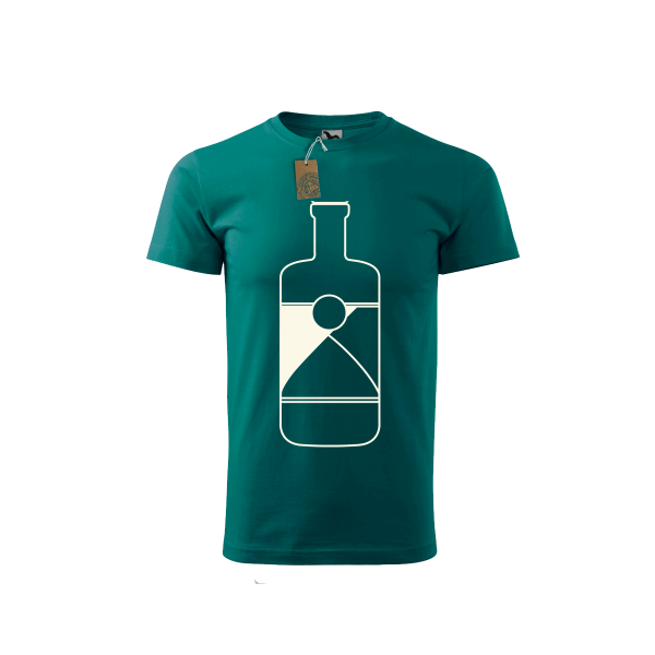 Green Spirited Union t-shirt with bottle at front