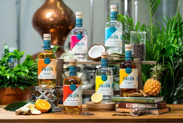 line up bottles by spirited union botanical rum